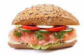 Sandwich With Salmon And Vegetables Closeup Isolated Front