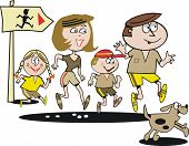 Family jogging exercise cartoon