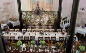 stock photo of banquet  - wedding banquet table with elegant  flower decoration - JPG