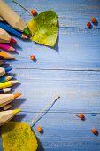 Vintage Background Colored Pencils Autumn Fruits Blue Table