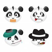Panda bear emotion icons, vector design