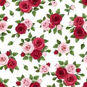Seamless pattern with red and pink roses on white. Vector illustration.