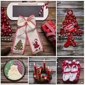 Merry Christmas Greeting Card In Red And White Color On Wood.