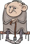 pic of growler  - Cartoon Illustration of Grumpy Old Man Senior - JPG