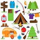Vector Collection of Camping and Outdoors Themed Images