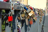 Padlocks Left By Lovers On Bridge In Poznan, Poland