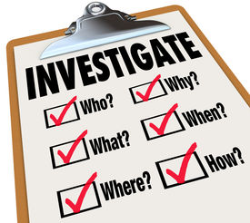 stock photo of investigation  - Investigate word on a checklist asking questions who - JPG