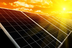 image of electric station  - Power plant using renewable solar energy with sun - JPG