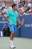 Seventeen times Grand Slam champion Roger Federer during US Open 2014 semifinal match