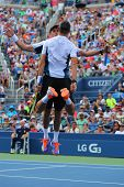 Grand Slam champions Mike and Bob Bryan celebrating victory after round 3 doubles match at US Open