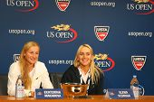 US Open 2014 women doubles champions Ekaterina Makarova and Elena Vesnina during press conference
