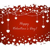 Red Valentines Background With Hearts