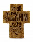 Proverbs 3:6 verse on textured cross