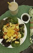 Fresh Plain Salad With Carrot And Pineapple
