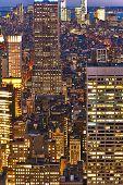 Cityscape night view of Manhattan, New York City, USA