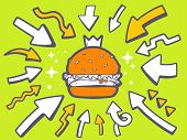 Illustration Of Arrows Point To Icon Of Big Burger With Crown On Green Background.
