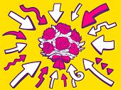 Illustration Of Arrows Point To Icon Of Bouquet Of Red Flowers On Yellow Background.