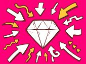 Illustration Of Arrows Point To Icon Of Diamond On Pink Background.