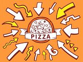 Illustration Of Arrows Point To Icon Of Pizza On Orange Background.