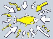 Illustration Of Arrows Point To Icon Of Fish On Gray Background.