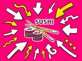 Illustration Of Arrows Point To Icon Of Sushi On Pink Background.