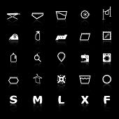 Cloth Care Sign And Symbol Icons With Reflect On Black Background