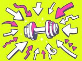 Illustration Of Arrows Point To Icon Of Dumbbell On Yellow Background.