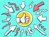Illustration Of Arrows Point To Icon Of Thumb Up On Green Background.