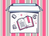Illustration Of Open Box With Icon Of  Open Book On Pink And Grey Pattern Background.