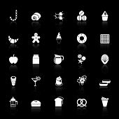 Sweet Food Icons With Reflect On Black Background