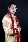 stock photo of sherwani  - A traditional young Indian man in a royal attire - JPG