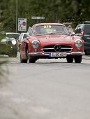 old car mercedes red mille miglia 2014