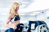 Woman taking weights from stand in fitness gym preparing for training