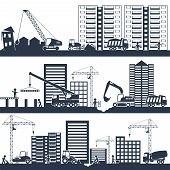 stock photo of machinery  - Construction industrial composition black with building machinery and people working vector illustration - JPG