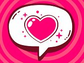 Illustration Of Speech Bubble With Icon Of Heart On Pink Pattern Background.