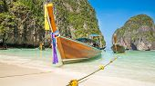 Traditional Longtail Boat In Bay On Phi Phi Island, Krabi,thailand Beach, Phuket