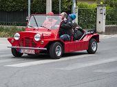 old car Mini moke red mille miglia 2014