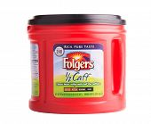 DEPEW, OK, USA - January 19th, 2015: Can of Folgers half caff coffee. Folgers Coffee is a popular brand of coffee in the United States, and part of  The J.M. Smucker Company.