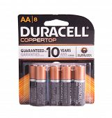 DEPEW, OK, USA - January 19th, 2015: 8 pack of Duracell batteries. Duracell is an American brand product line of batteries, owned by Berkshire Hathaway, NE, USA.
