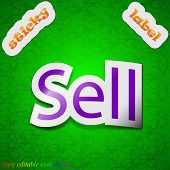 Sell Icon Sign. Symbol Chic Colored Sticky Label On Green Background. Vector
