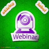 Webinar Web Camera Icon Sign. Symbol Chic Colored Sticky Label On Green Background. Vector