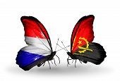 Two Butterflies With Flags On Wings As Symbol Of Relations Holland And Angola