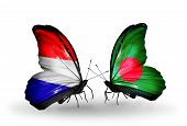 Two Butterflies With Flags On Wings As Symbol Of Relations Holland And Bangladesh