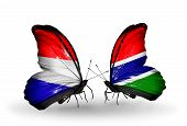 Two Butterflies With Flags On Wings As Symbol Of Relations Holland And Gambia