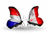 Two Butterflies With Flags On Wings As Symbol Of Relations Holland And Malta