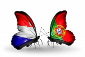 stock photo of holland flag  - Two butterflies with flags on wings as symbol of relations Holland and Portugal - JPG