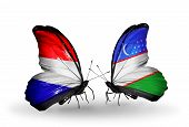 stock photo of holland flag  - Two butterflies with flags on wings as symbol of relations Holland and Uzbekistan - JPG