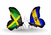 Two Butterflies With Flags On Wings As Symbol Of Relations Jamaica And  Barbados