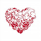 Floral heart shape on white. Vector illustration.