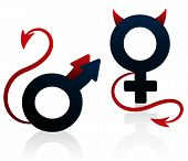 stock photo of sadomasochism  - Bad girl and bad guy figured as the female and male symbol with devils tails and horns - JPG
